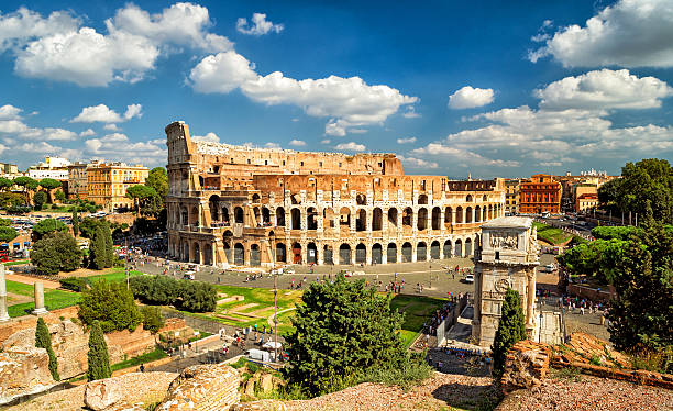 Panoramic view the Colosseum (Coliseum) in Rome Panoramic view the Colosseum (Coliseum) in Rome, Italy rome stock pictures, royalty-free photos & images
