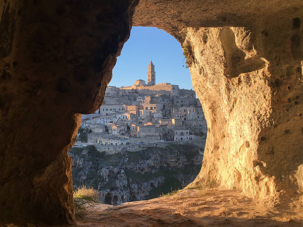Panoramic view through cave of sassi di Matera Panoramic view through cave of sassi di Matera,basilicata, Italy. UNESCO European Capital of Culture 2019 matera italy stock pictures, royalty-free photos & images
