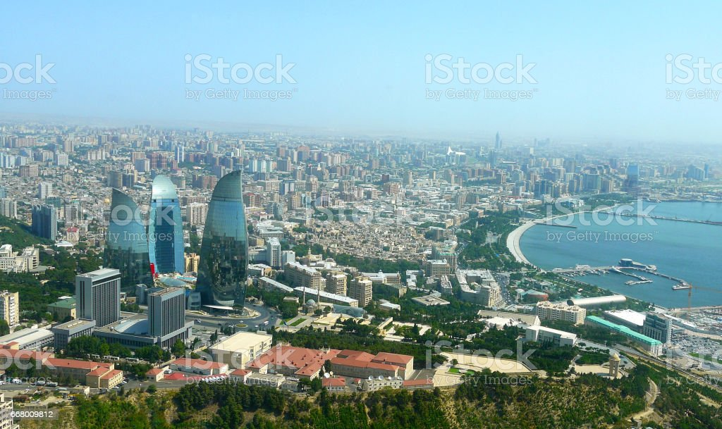 Panoramic view to Baku stock photo