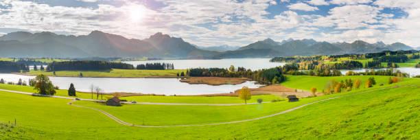 panoramablick auf die wunderschöne landschaft in bayern mit see und berge - allgäu stock-fotos und bilder