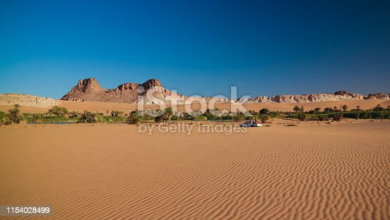 Panoramic view to Boukkou lake group of Ounianga Serir lakes at sunrise , Ennedi, Chad