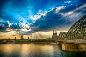 Panoramic view to Cologne Cathedral and Hohenzollernbrücke at sunset (HDR)