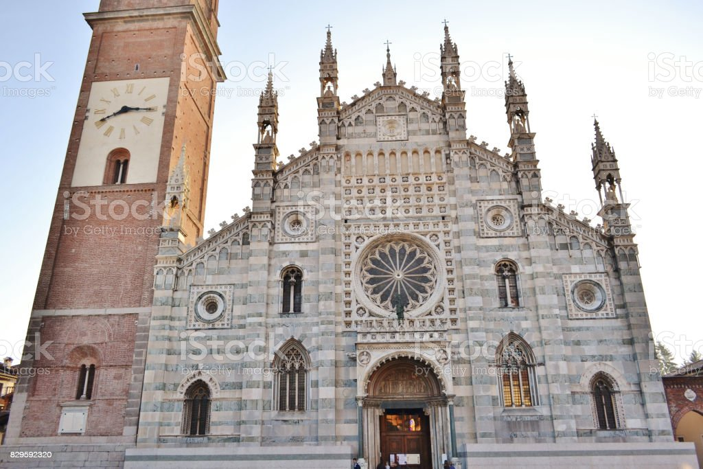 Panoramic view to Duomo of Monza. stock photo