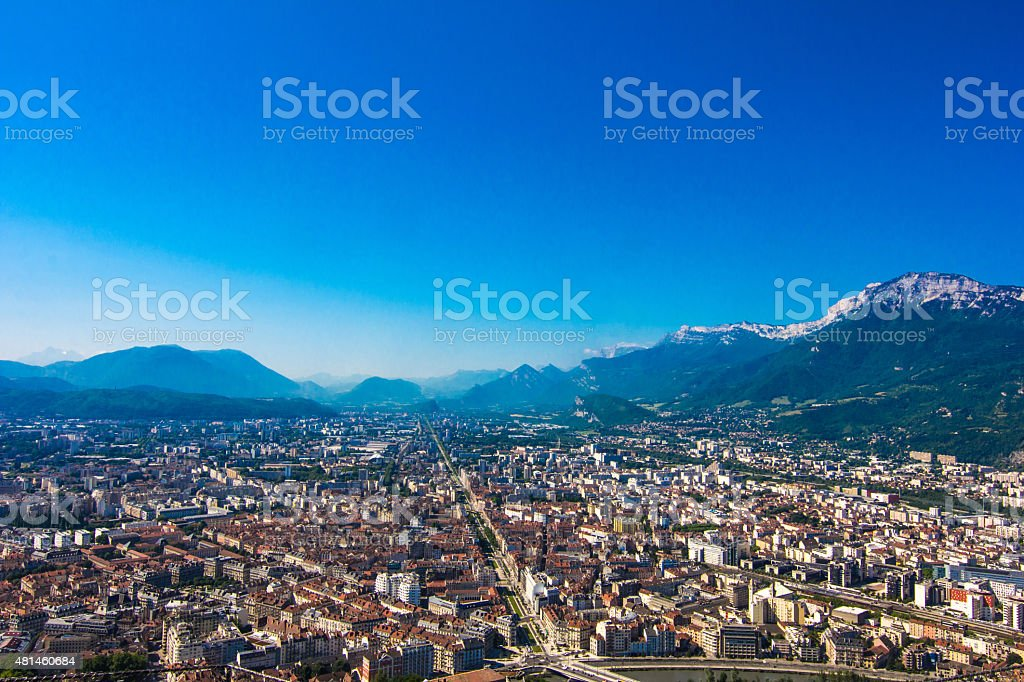 Panoramic view to Grenoble, France stock photo