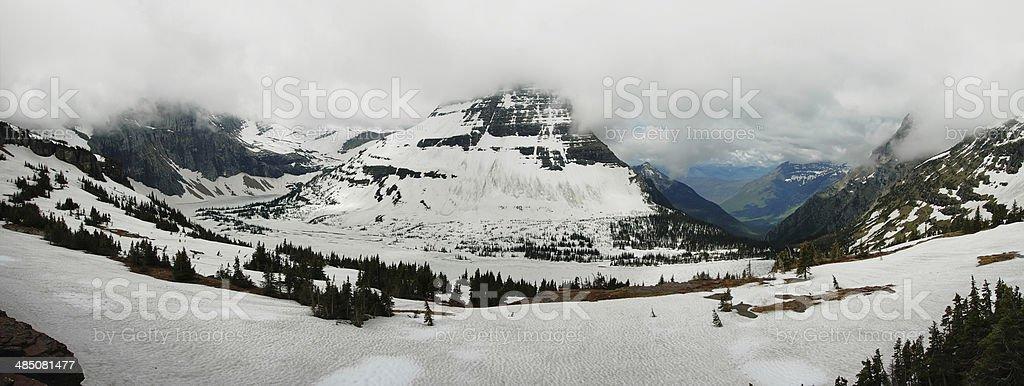 Panoramic view to iced hidden lake stock photo