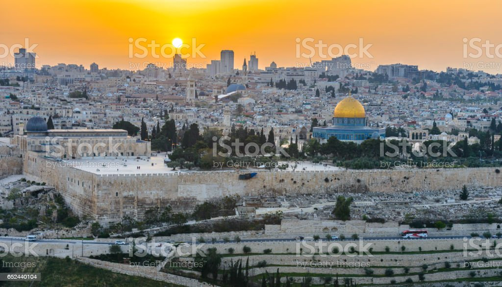 Panoramic view to Jerusalem Old city at Sunset stock photo