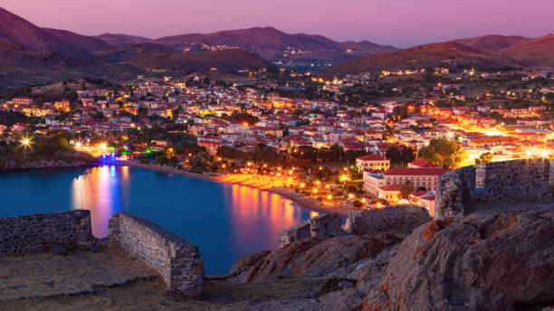 Panoramic view to Myrina village from the old fortress, Lemnos island, Greece stock photo