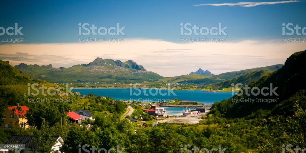 Panoramic view to Napp village and Skjellsteinvika bay at Flakstadoya Island, Lofoten, Norway stock photo
