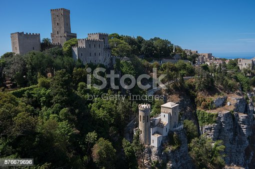 istock Panoramic view to  norman castle called Torri del Bali, Torretta Pepoli - little castle in Erice, Sicily, Italy 876679696