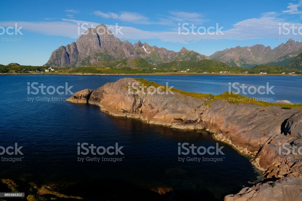 Panoramic view to Orsvagvaer village and Sandvika fjord at Austvagoy Island, Lofoten, Norway royalty-free stock photo