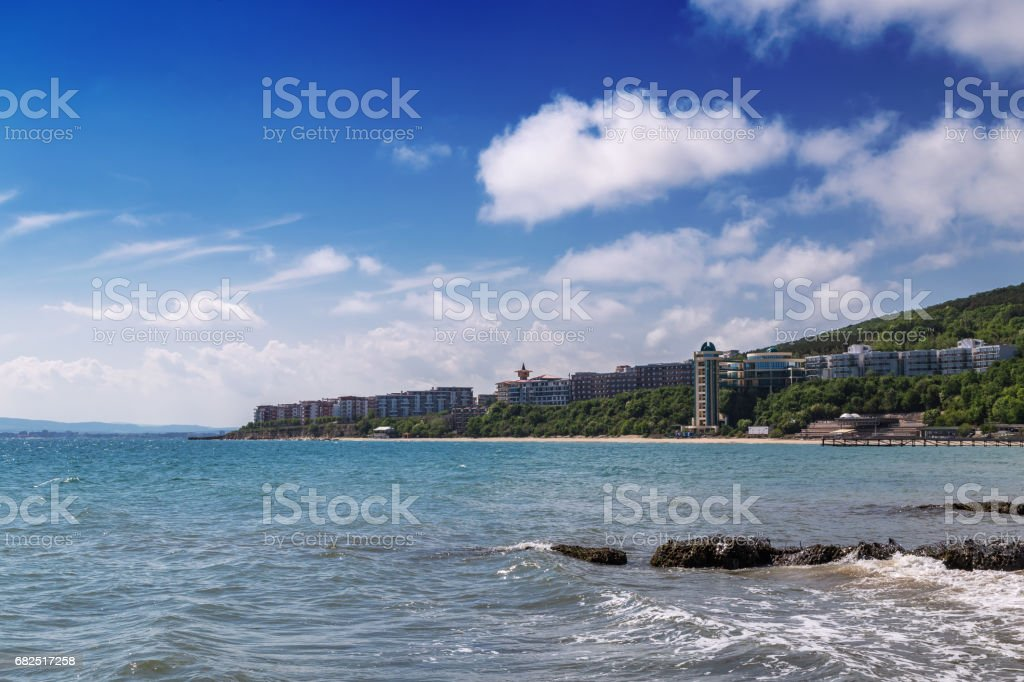 Panoramic view to sea resort Paradise Beach, Bulgaria Lizenzfreies stock-foto