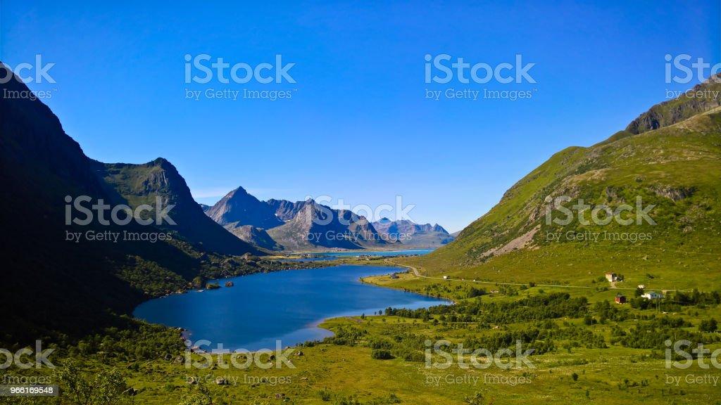 Panoramic view to Storvatnet and Litlvatnet lakes at Flakstadoya Island, Lofoten, Norway stock photo