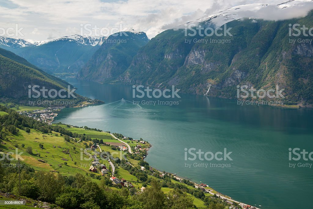 Panoramic view to the Aurlandsfjord, Norway stock photo