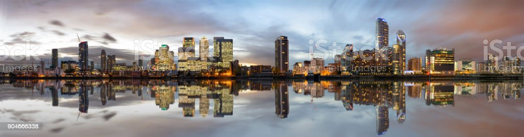 Panoramic view to the Docklands and Canary Wharf in London stock photo