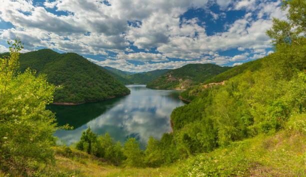 Panoramic view to the estuary of Diavolorema stream - Greece stock photo