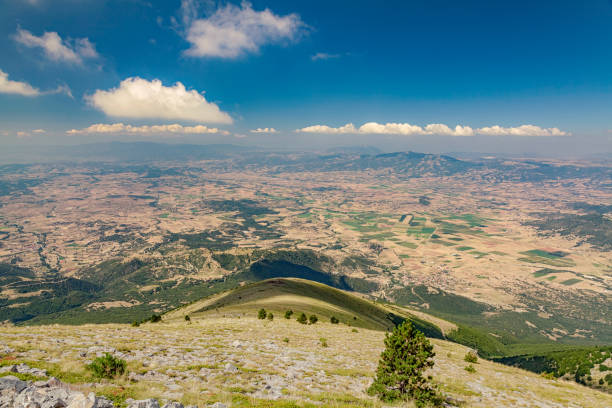 Panoramic view to the plain from Olympus mountain stock photo