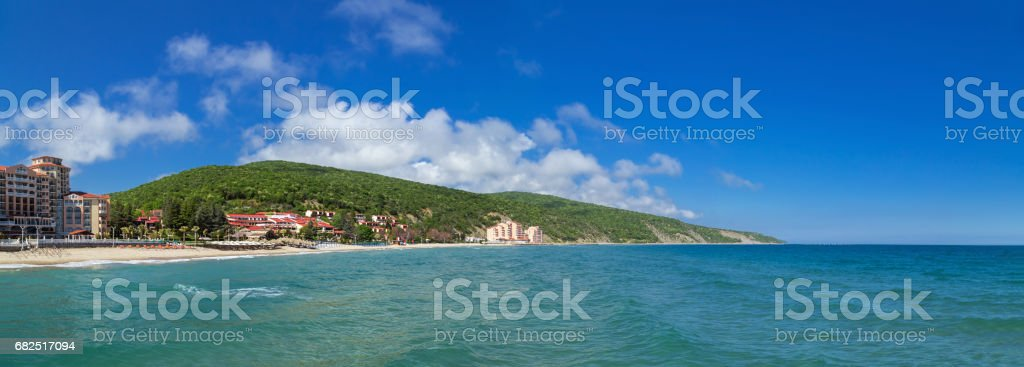 Panoramic view to the sea resort royalty free stockfoto