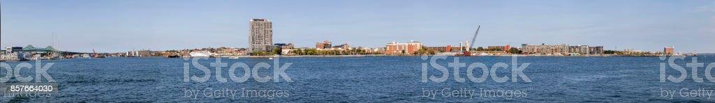 panoramic view to the skyline of Boston stock photo