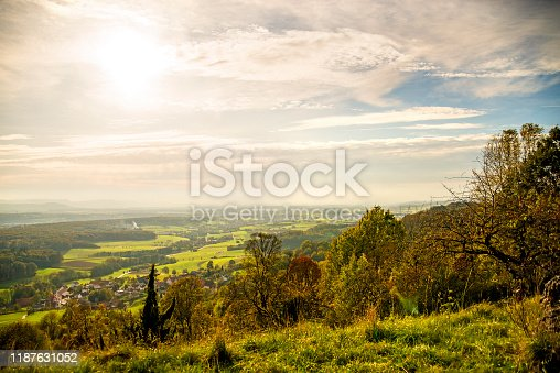 istock Panoramic view to the south of Germany direction Stuttgart 1187631052