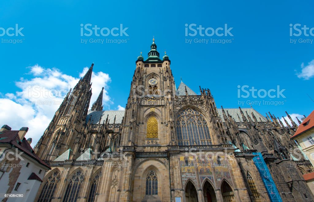 Panoramic view to the St. Vitus cathedral royalty-free stock photo