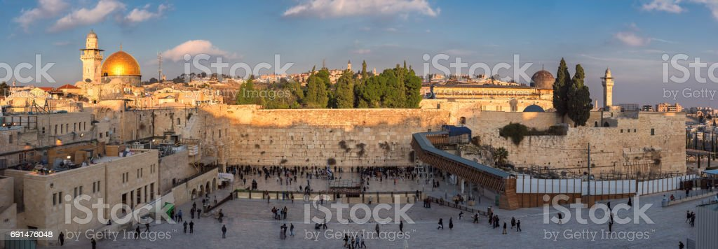 Panoramic view to Western Wall of Jerusalem Old City stock photo