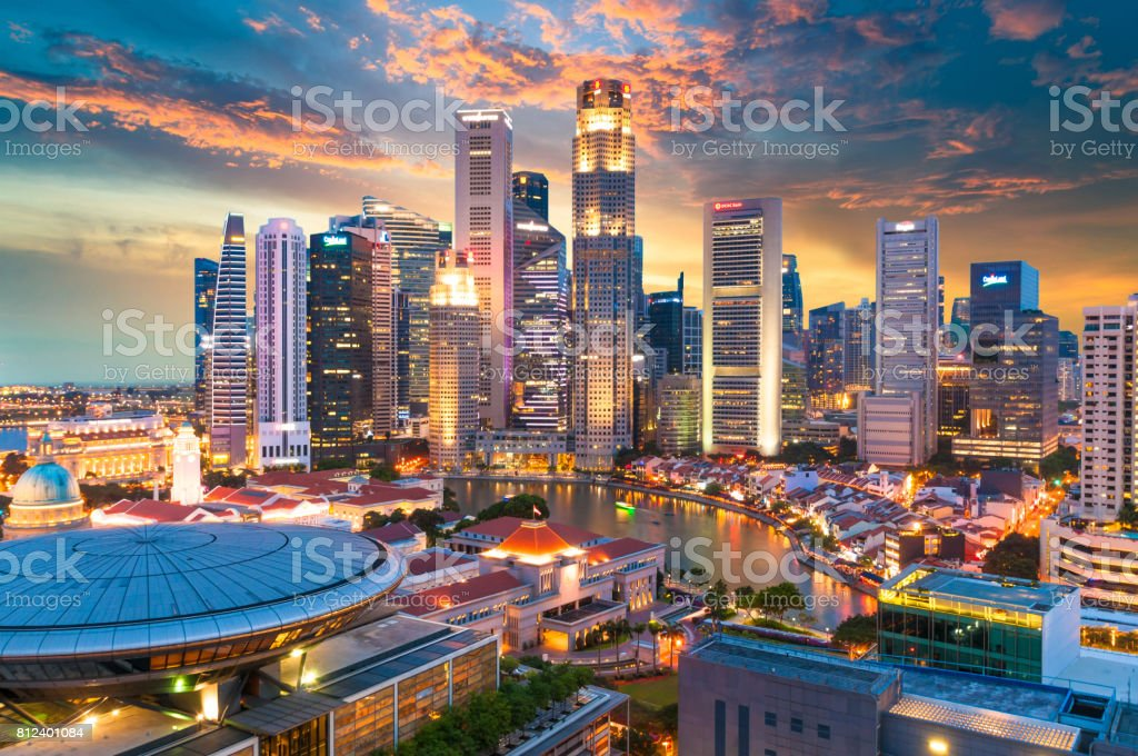 Panoramic view urban cityscape in singapore stock photo