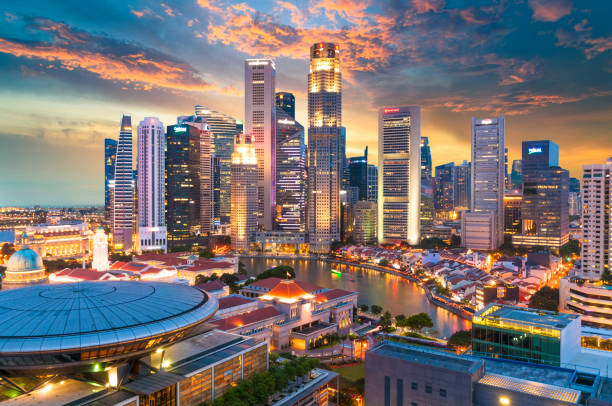panoramic view urban cityscape in singapore - singapore stock photos and pictures
