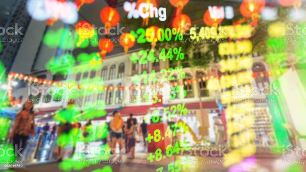 Panoramisch uitzicht over stedelijke stadsgezicht singapore met investeringen thema achtergrond - Royalty-free Azië Stockfoto