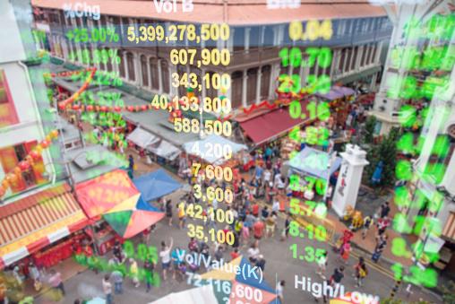 Panoramisch Uitzicht Over Stedelijke Stadsgezicht Singapore Met Investeringen Thema Achtergrond Stockfoto en meer beelden van Azië