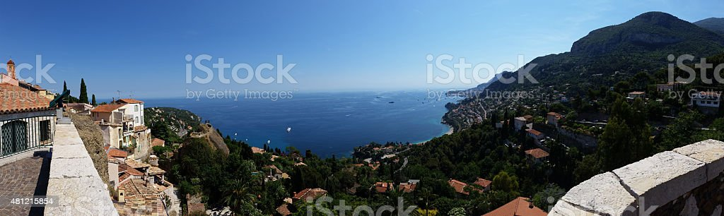 Panoramic view village Roquebrune Cap Martin stock photo