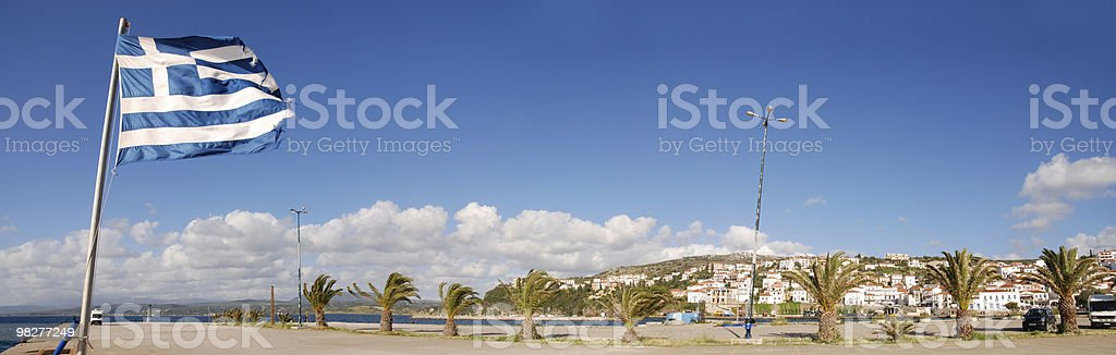 panoramic view with Greek flag and cityscape of Pylos royalty-free stock photo