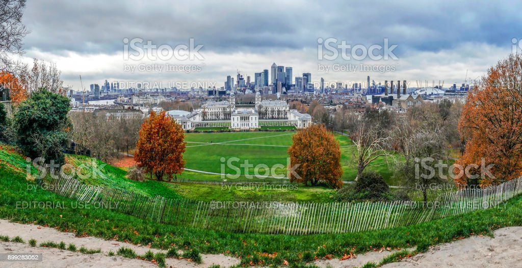 Panoramic view with Queen's House from Greenwich Hill, London stock photo