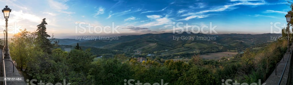 Panoramic view with sunset from town Radda in Chianti to beautiful Tuscany stock photo