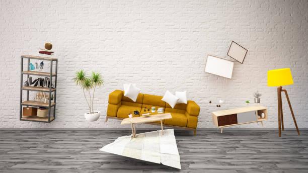 panoramic view. zero gravity living room. levitation concept - levitazione foto e immagini stock