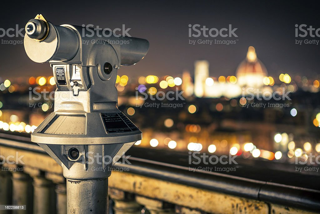 Panoramic Viewpoint in Florence, Telescope at Night stock photo