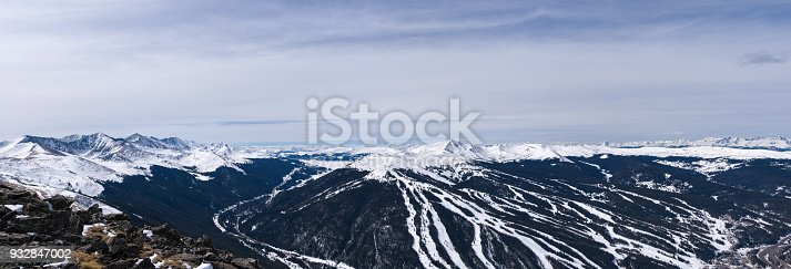 Panoramic Views Copper Mountain Tenmile Range - Winter landscape of mountains, valley, summits and ski runs of Copper Mountain. Colorado, USA.