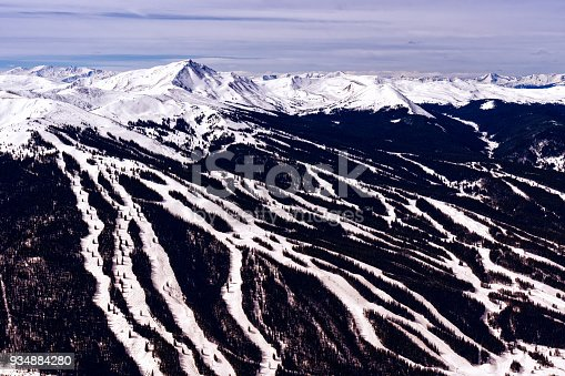 Panoramic Views Copper Mountain Tenmile Range - Winter landscape of mountains, valley, summits and ski runs of Copper Mountain. Colorad, USA.