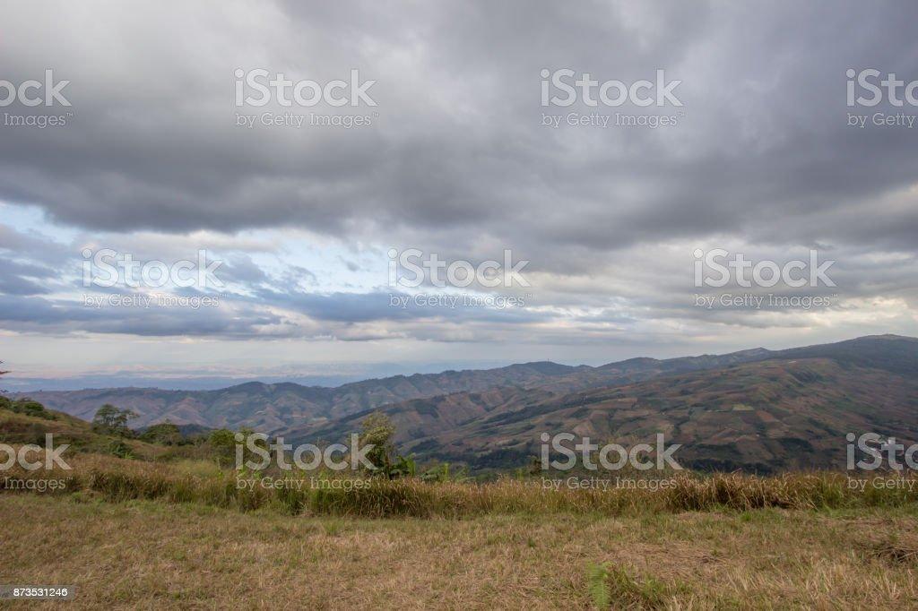 panoramic views from mountaintop of Phu Lom Lo,Phu Hin Rong Kla National Park,Kok Sathon,Dan Sai District,Loei,Thailand stock photo