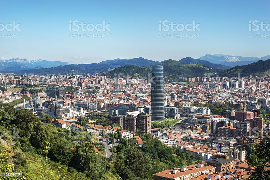 Panoramic views of Bilbao city, Bizkaia, Basque Country, Spain. stock photo