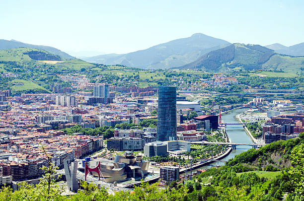 Panoramic views of Bilbao city, Bizkaia, Basque Country, Spain stock photo