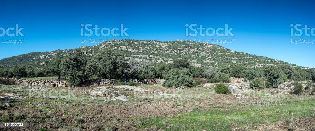 Panoramic views of Hoyo de Manzanares Range, Madrid, Spain stock photo