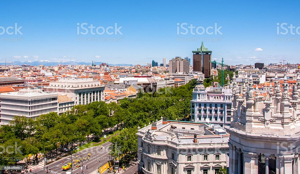 Panoramic views of Madrid from the lookout Cibeles Palace, Spain stock photo
