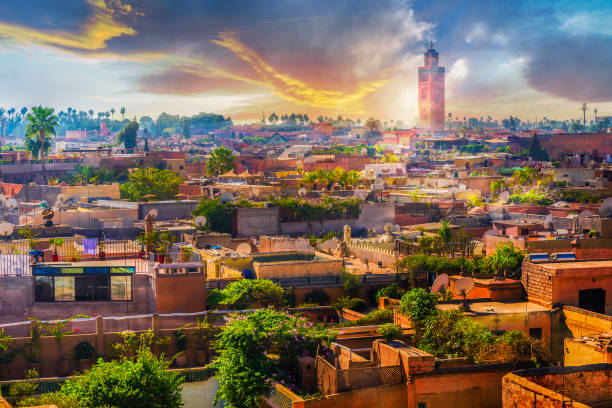 panoramic views of marrakech, morocoo - unesco foto e immagini stock