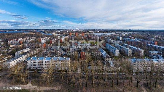 Panoramic views of the residential districts Daugavgriva Riga, Latvia in springtime