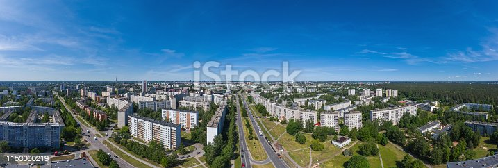 Largest residential district of Riga, Purvciems from above, drone photography.