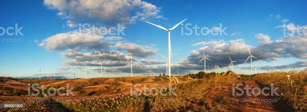 Panoramic views of the wind farm stock photo