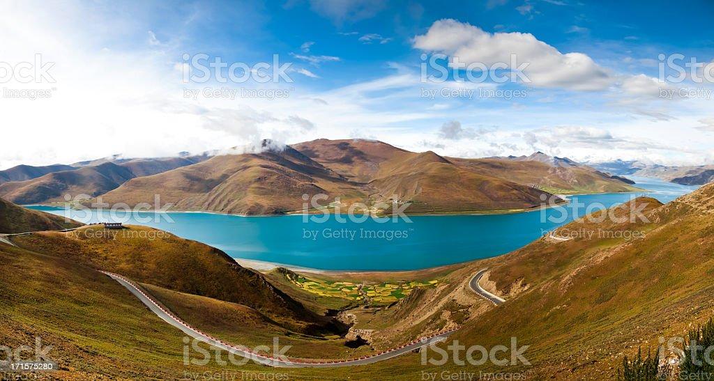 Panoramic views of the Yamdrok Lake stock photo