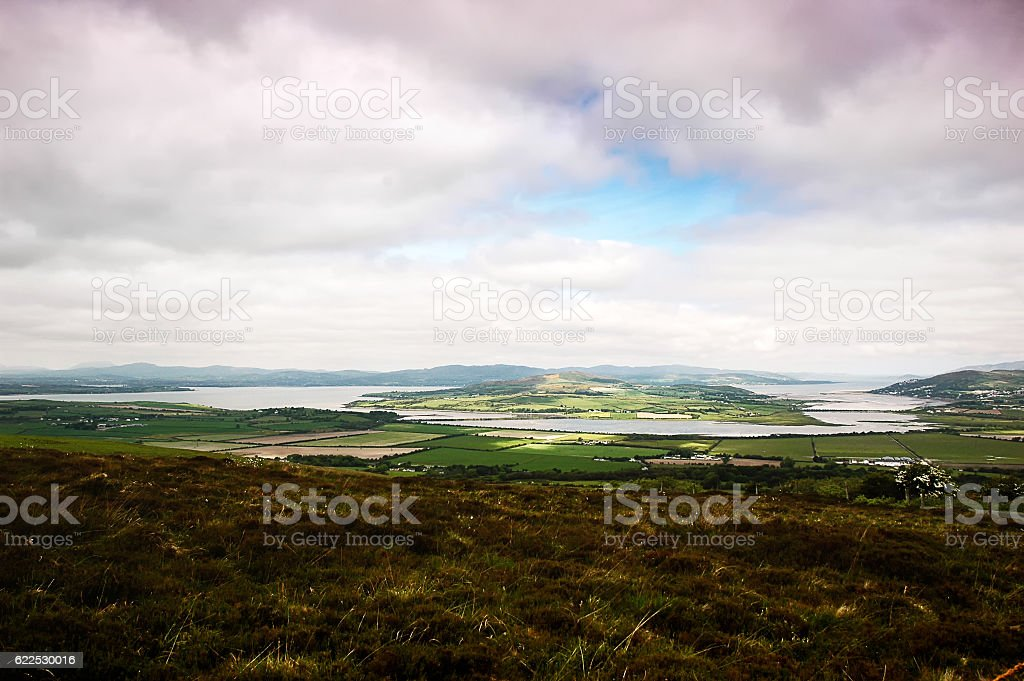 panoramic views over to Drongawn Lough in Donegal (Ireland) stock photo