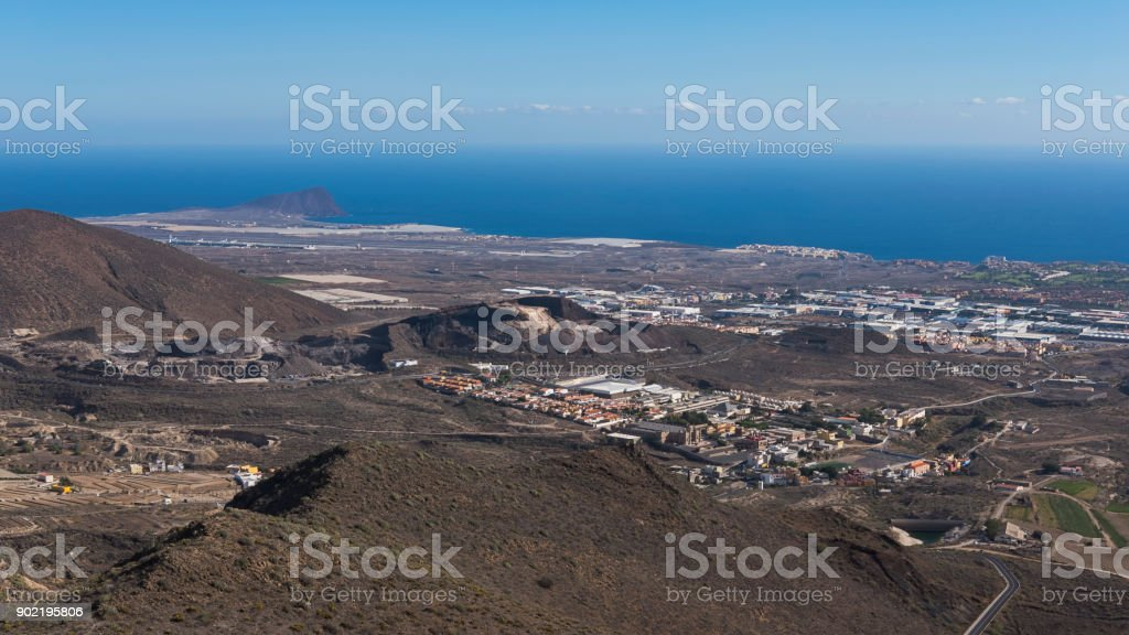 Panoramic views towards the south eastern coast of Tenerife island from Mirador La Centinela on a clear winter day, Canary Islands, Spain stock photo