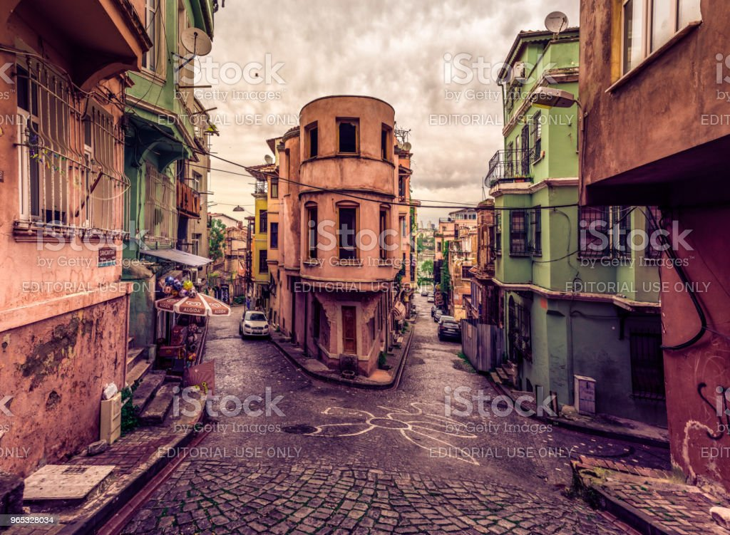 Panoramic Vintage view of Traditional Street and houses at balat area in ISTANBUL, TURKEY royalty-free stock photo